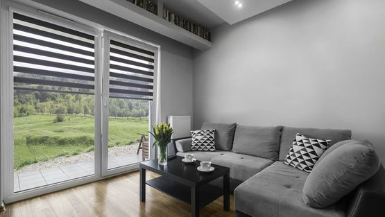 Modern looking blinds in a customers living room
